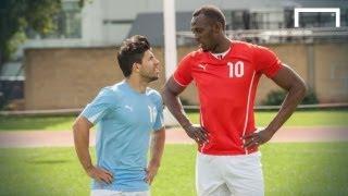 Usain Bolt speeds up Aguero ahead of Manchester derby