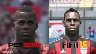 PES 2016 vs FIFA 16 AC Milan Player Faces Comparison