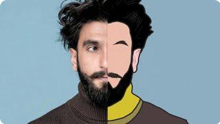 Tutorial Vector portrait //cartoon effect using Adobe illustrator draw on smartphone | i SNAP