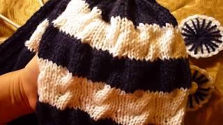 قبعة تريكو بالضفرة البسيطة الاماميه  - How to Knit a Hat
