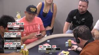 Leo, Tam, and Mike build a huge pot in 2/3 PLO ♠ Live at the Bike! Hand of the Night