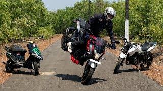 insecure Bike Stunts on Pulsar NS 200 - Apache 180 & Scooty Pep+