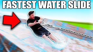 WORLDS FASTEST BACKYARD WATER SLIDE USING BUNGEE CHORD!!