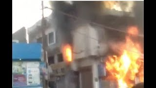 Watch: Fire engulfs two Moradabad paint shops
