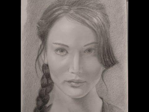 Cómo hacer un retrato Jennifer Lawrence Juegos del Hambre Arte Divierte.