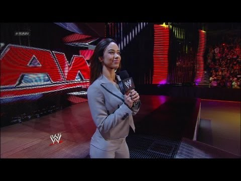 AJ Lee announces the WWE Championship match for Night of