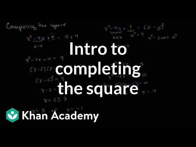 Solving quadratic equations by completing the square   Algebra II   Khan Academy