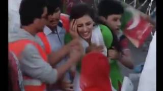 See Girl Crying in PTI Jalsa, F 9 Park, Imran Khan PTI Jalsa,