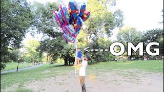 FLYING BABY WITH HELIUM BALLOONS! *gone wrong*