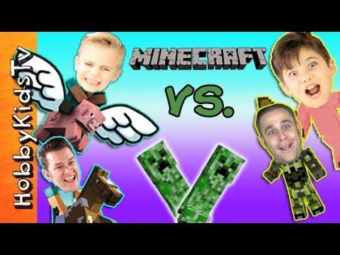 MINECRAFT Battle Game! Who Steals Treasures? Build+Survival Mode, Big Bros Vs. Little HobbyKidsTV