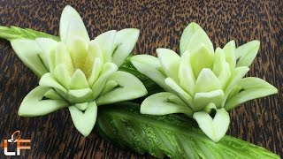 How To Make Cucumber Flower Carving Garnish - Art In Cucumber Flower Carving