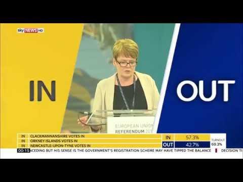 Sky News HD UK EU Referendum First Result Sunderland OUT June 2016