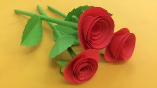 How to Make Small Rose Flower with Paper   Making Paper Flowers Step by Step   DIY-Paper Crafts