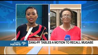ZANU-PF tables motion to recall Mugabe