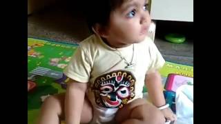 Small boy crying in funny way.