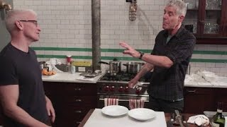 Bourdain and Anderson Cooper cook Sunday gravy (Parts Unknown: New Jersey)