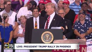 """""""THEY SHOW UP IN THE HELMETS AND BLACK MASKS! ANTIFA!"""" President Trump speaks at Phoenix Rally"""