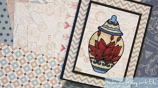 Coloring on Patterned Cardstock with Peel-off Stickers | Technique Friday with Els