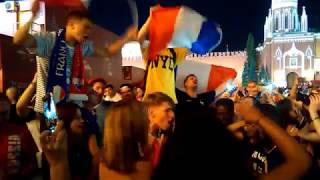 World cup. France fans sing Marseillaise on Red square. July 15, 2018