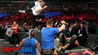 Shane McMahon elbow drops Braun Strowman through announce table: Survivor Series 2018 (WWE Network)