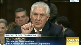 """Rex """"Drill-Baby-Drill"""" Tillerson Secretary Of State Confirmation Hearing Part #2"""