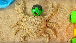 Hulk Plays with Sand ❤ Frozen Elsa, Hulk & Superhero Babies Cartoons ❤ Play Doh Stop Motion