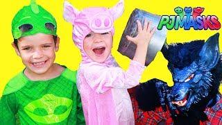 PJ Masks 3 Little Pigs Story with Gekko & Big Wolf in Huge Playhouse