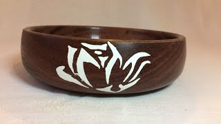 Wood turning - First time turning Purple heart bowl + engraving and Milliput! Epoxy putty