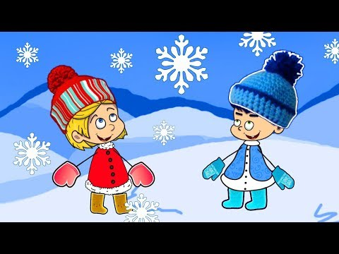 Children playing with snow - Moo and Noo funny children's cartoon