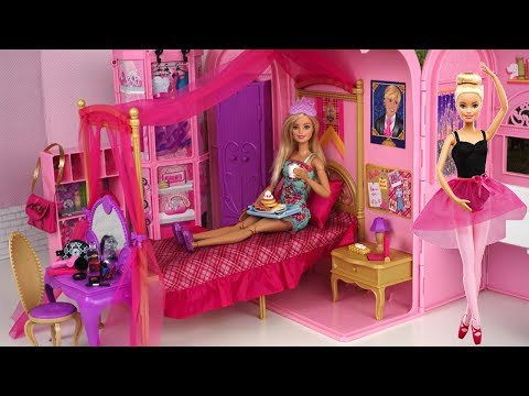 Xxx Mp4 Barbie Pink Bedroom Bath Morning Routine Princess Doll Dancing Ballerina Play Set 3gp Sex