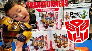 FIRST TIME OPENING  NEW TRANSFORMERS CARD GAME BOOSTER BOX! UNBOXING IN PSYCHO TURTLE COLLECTIBLES!