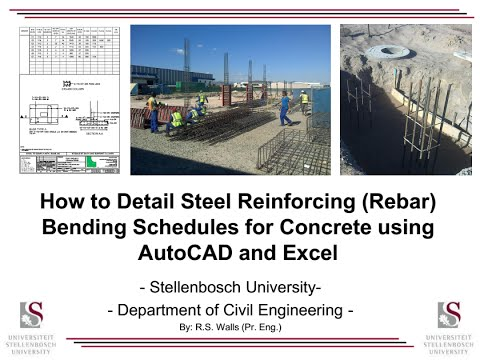How to Detail Steel Reinforcing (Rebar) Bending Schedules for Concrete using AutoCAD and Excel