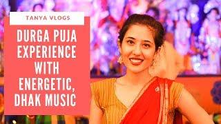 BENGALI DURGA PUJA WITH DHAK MUSIC   INDIAN GIRLS IN SAREE, SARITA VIHAR