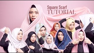 10 SQUARE HIJAB TUTORIAL! Simple~