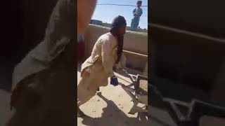 A pathan labour is dancing during work nice funny and talent Pathan mazdoor dance