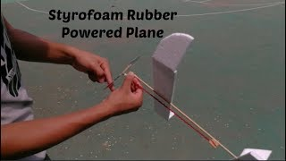 Basic rubber powered airplane tutorial  How to make a rubber band plane out of foam!