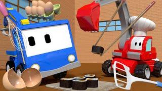 The RESTAURANT - Tiny Trucks for Kids with Street Vehicles Bulldozer, Excavator & Crane