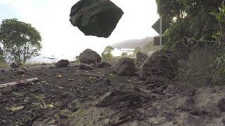 Landslide and rockfall during Kaikoura Earthquake aftershock