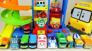 Robocar Poli car toys and Parking tower tayo bus pororo toys