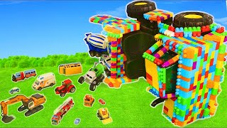 Toy Blocks Truck: Fire Trucks, Excavator, Tractor, Cars & Trains Construction Toy Vehicles for Kids