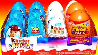 12 Surprise Eggs Toy Story Kinder Surprise Eggs Unboxing Disney Pixar Easter Madagascar 3 Trash Pack