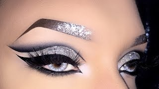 Sexy Black Cut Crease with Silver Holo Glitter Makeup Tutorial using Wonderland Makeup