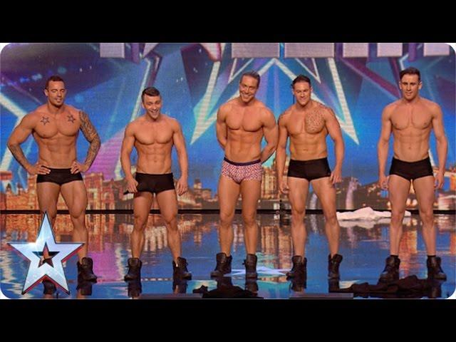 Why hello boys! Feeling a bit hot under the collar are we?   Britain's Got More Talent 2015