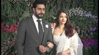 Aishwarya Rai Hot In Saree With Abhishek Bachchan At Virushka Reception In Mumbai
