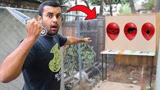 SECRET Hidden Punishments Inside of GIANT Balloons (Throwing Knife Mystery Balloon Challenge)