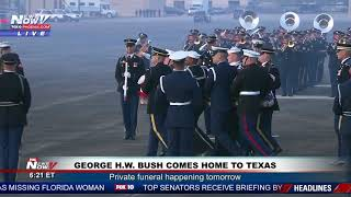 ARRIVAL CEREMONY: For #Bush41 at Ellington Field in Houston, Texas