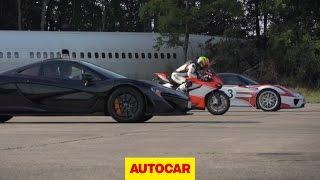 McLaren P1 vs. Porsche 918 Spyder vs. Ducati 1199 Superleggera - drag race