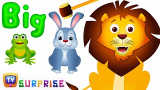 Learn Sizes & Wild Animals with Wooden Hammer Surprise Eggs Hitting Game | ChuChu TV Surprise