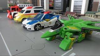 쥬라기캅스 쥬렉스 쥬테라 쥬톱스 쥬키오 로봇 자동차 장난감 변신 Jurrasic Cops Dinosaur Robot Toys