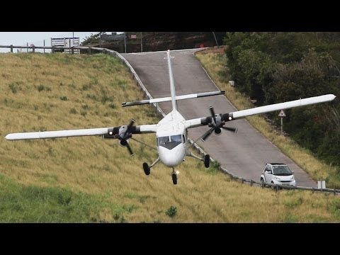 Crazy Landings St.Barth Nose down arrivals Dash 6 Twin Otter HD